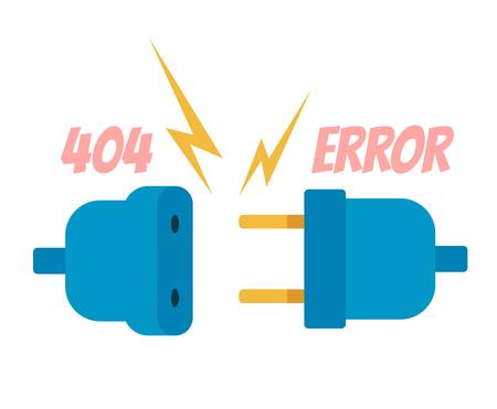 Banner de página de banner web de error 404. Ilustración de diseño gráfico de dibujos animados plano de vector