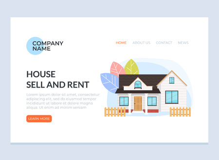 House sell and rent web page banner concept service. Vector flat cartoon graphic design illustration