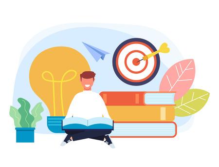 Man student character sitting on books and reading. Good idea concept. Vector flat cartoon graphic design illustration 일러스트