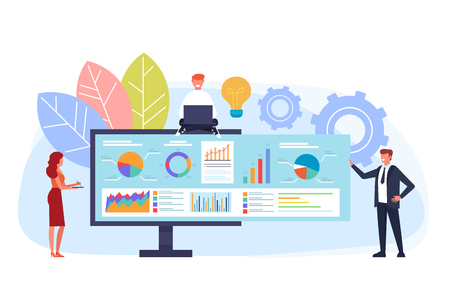 Online business strategy concept. Vector flat graphic design cartoon illustration Illustration
