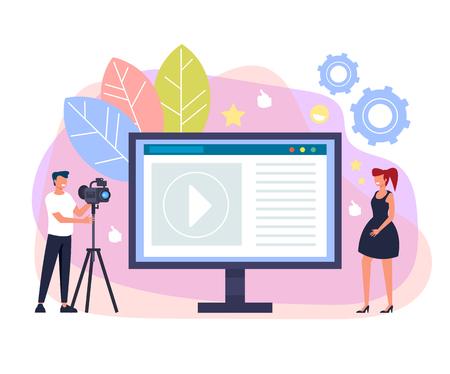 Happy smiling girl blogger streaming online. Internet blogging web site concept. Vector flat graphic design cartoon illustration Illustration