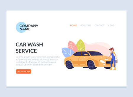 Happy smiling woman washing car. Carwash banner poster concept. Vector flat graphic design cartoon illustration