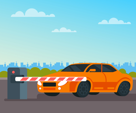 Car waiting toll booth open. Transportation concept. Vector flat cartoon graphic design isolated illustration