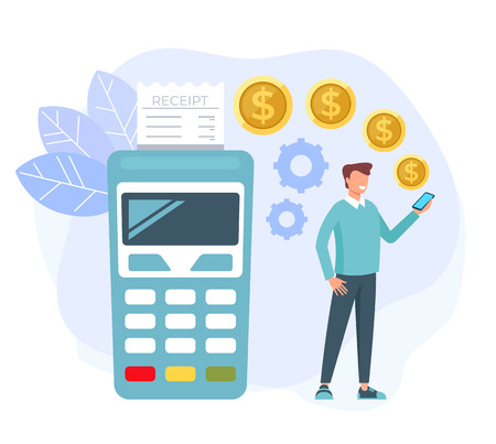Man consumer character making purchases online. Web internet payment concept. Vector flat cartoon graphic design isolated illustration Vettoriali