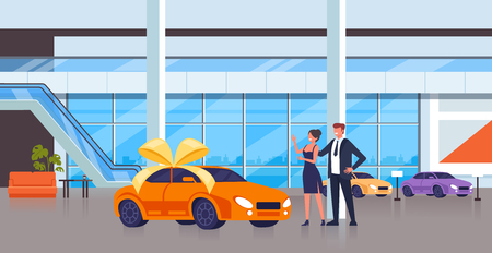 Man character gift new car to his wife. Vector flat cartoon graphic design isolated illustration Illustration