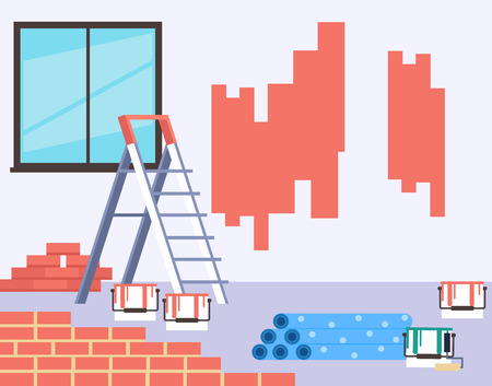Walls painting home house repair concept. Vector flat cartoon graphic design isolated illustration