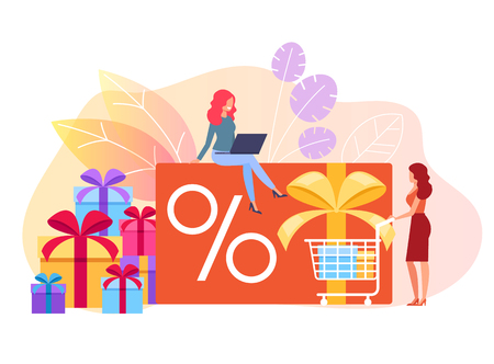Woman consumers characters making purchases by online shop store. Special offer discount concept. Vector flat cartoon graphic design isolated illustration