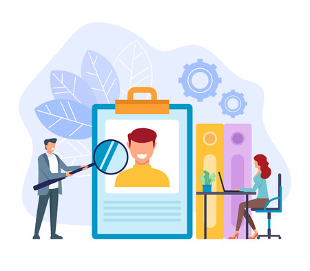 Office workers businessman searching new worker. Head hunter hh recruitment concept. Vector flat cartoon graphic design isolated illustration