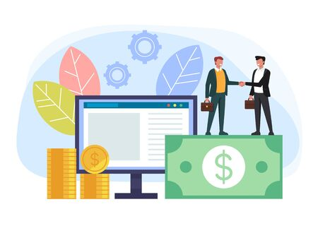 Online business deal concept. Vector flat cartoon graphic design isolated illustration Vektorgrafik