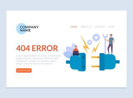 Concepto de cartel de banner de página web de mensaje de error 404. Ilustración aislada del diseño gráfico de la historieta plana del vector