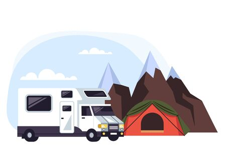 Camping van concept. Vector flat cartoon graphic design isolated illustration