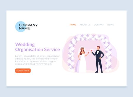 Wedding organization online page banner concept. Vector flat cartoon graphic design isolated illustration Illustration