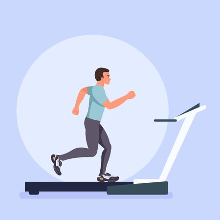 Sportsmen runner character run on treadmill. Sporty lifestyle concept. Vector flat cartoon graphic design isolated illustration Stock Illustratie