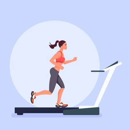 Sports woman runner character run on treadmill. Sporty lifestyle concept. Vector flat cartoon graphic design isolated illustration 版權商用圖片 - 125800746