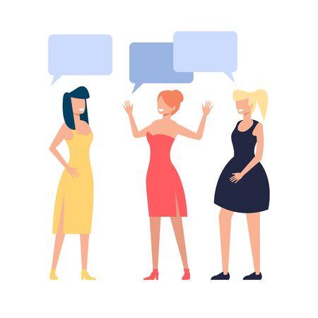 Three girls woman friends characters talking. Friendship concept. Vector flat graphic design cartoon illustration
