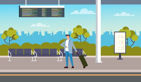 At the bus station. Transportation concept. Vector flat cartoon graphic design illustration