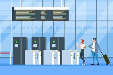 Puertas de registro de pasajeros de personas. Registro para el concepto de viaje de salida. Ilustración aislada del diseño gráfico de la historieta plana del vector