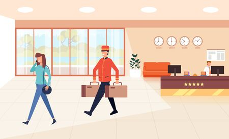 Carrier porter carry bags. Tourism travel concept. Vector flat graphic design cartoon illustration