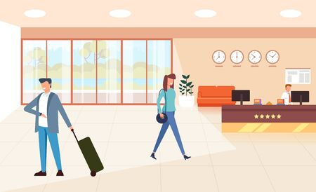 Modern hotel hall reception apartment with waiting tourists. Tourism travel concept. Vector flat graphic design cartoon illustration