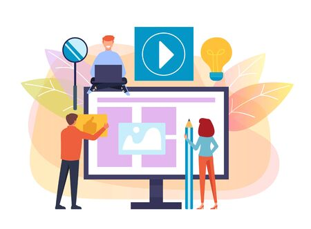 People workers team characters developing making web site. Vector flat cartoon graphic design isolated illustration