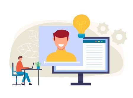 Les personnages étudiants écoutent des cours en ligne. Concept de tutoriel Internet Web. Illustration vectorielle isolée de conception graphique de dessin animé plat