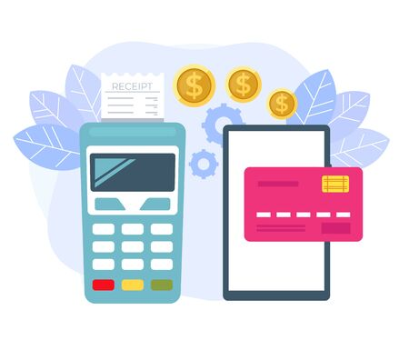 Online mobile payment transaction terminal concept. Vector flat cartoon graphic design isolated illustration