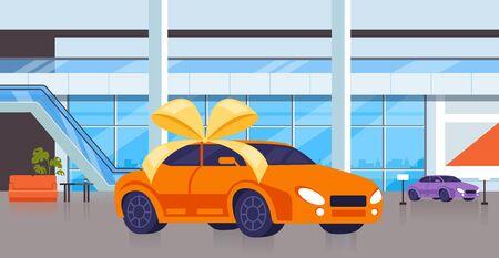 New car on salon shop. Vector flat cartoon graphic design isolated illustration