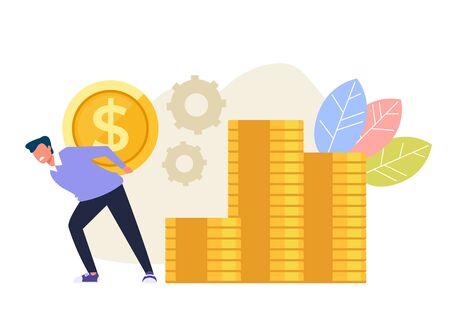 Sad unhappy man character carrying golden coins on his back. Money dependance concept. Vector flat cartoon graphic design illustration