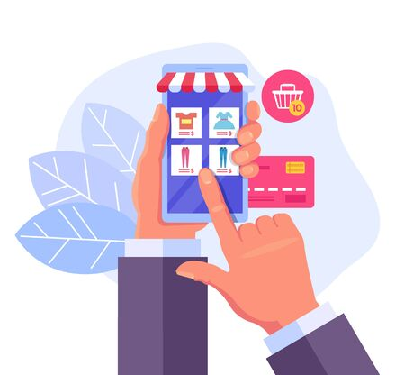 Consumer hand holding smartphone and making purchases. Online internet shopping trading concept. Vector flat cartoon graphic design illustration