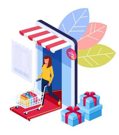 Woman consumer character holing shopping bags. Online internet shopping trading isometry concept. Vector flat cartoon graphic design illustration Stock Vector - 125800514