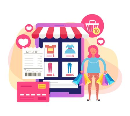 Woman consumer character holing shopping bags. Online internet shopping trading concept. Vector flat cartoon graphic design illustration Illustration