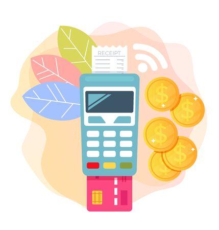 Payment terminal money online internet transaction concept. Vector flat cartoon graphic design illustration