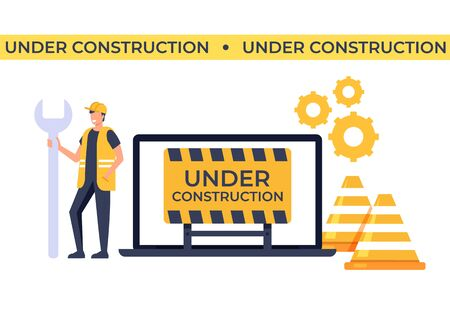 Under construction website concept. Vector flat cartoon graphic design isolated illustration Illustration