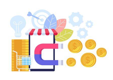 Successful e business shopping commerce management concept. Vector flat cartoon graphic design illustration