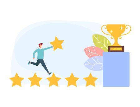 Feedback rating man consumer service mobile app concept. Vector flat cartoon graphic design illustration