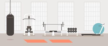 Concept de salle de sport moderne vide. Illustration de conception graphique de dessin animé plat de vecteur Vecteurs