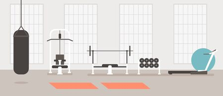 Empty modern gym concept. Vector flat cartoon graphic design illustration Ilustração
