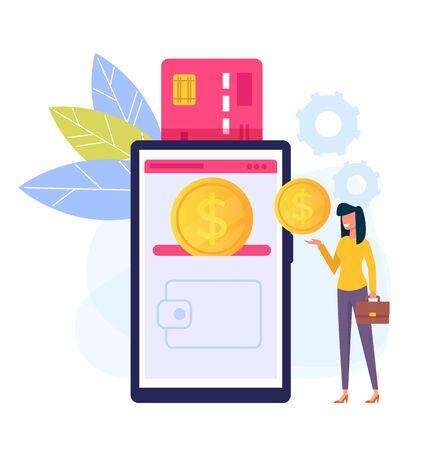 Online-Handy-Internet-Transaktionskonzept. Vector flache Karikaturdesigngraphik lokalisierte Illustration