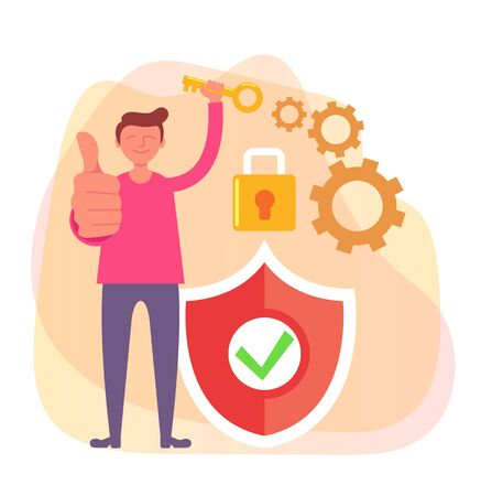 Man character holding key. Network security personal data protection concept. Vector flat cartoon design graphic isolated illustration Иллюстрация