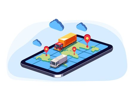 Big trucks moving on online web map smartphone. Order parcel cargo delivery online tracking concept. Vector flat cartoon graphic design isolated isometric illustration 写真素材 - 127386901