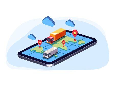 Camiones grandes moviéndose en el teléfono inteligente de mapa web en línea. Concepto de seguimiento en línea de entrega de carga de paquete de pedido. Ilustración isométrica aislada del diseño gráfico de la historieta plana del vector