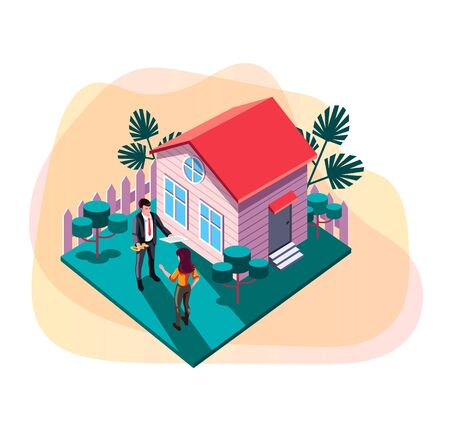 Real estate sell and rent property house concept. Vector design graphic flat cartoon web page loading banner illustration 스톡 콘텐츠 - 127386903