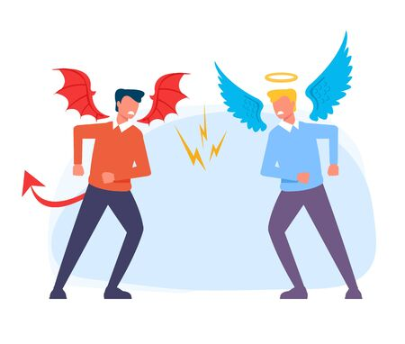 Devil and Angel characters. Vector flat cartoon graphic design isolated illustration
