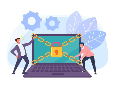 Hackers man trying to hack privacy laptop pc personal data information. Data protection online login password concept. Vector flat cartoon graphic design isolated illustration