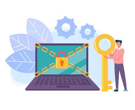 Unlock your laptop pc personal data information. Data protection online login password concept. Vector flat cartoon graphic design isolated illustration Foto de archivo - 127386994