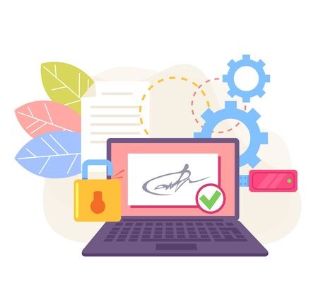 Electronic online digital signature stamp on usb laptop computer monitor ps. Web internet document contract agreement business concept. Vector flat cartoon graphic design illustration Vectores