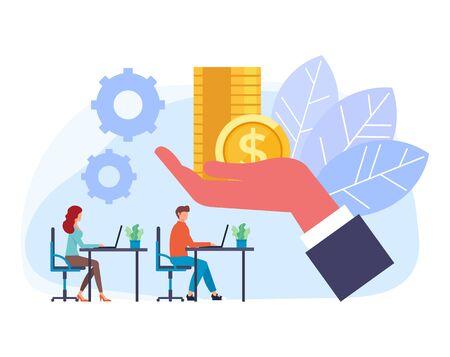 Boss hand giving salary money to employee. Vector flat graphic design cartoon illustration Standard-Bild - 127386999