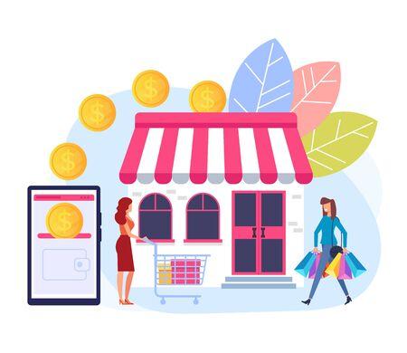 Online shopping money smartphone transaction concept. Vector flat graphic design cartoon illustration Banque d'images - 127387008