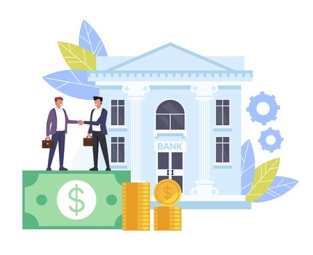 Business man people characters shaking hands. Banking deal contract concept. Vector flat cartoon graphic design isolated illustration Иллюстрация