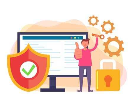 Data protection security concept. Vector flat cartoon graphic design isolated illustration